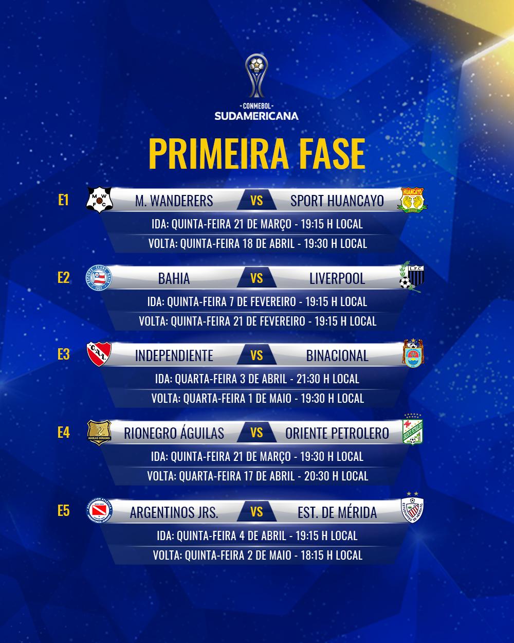 E1 E5 Tabela Sul-Americana 2019