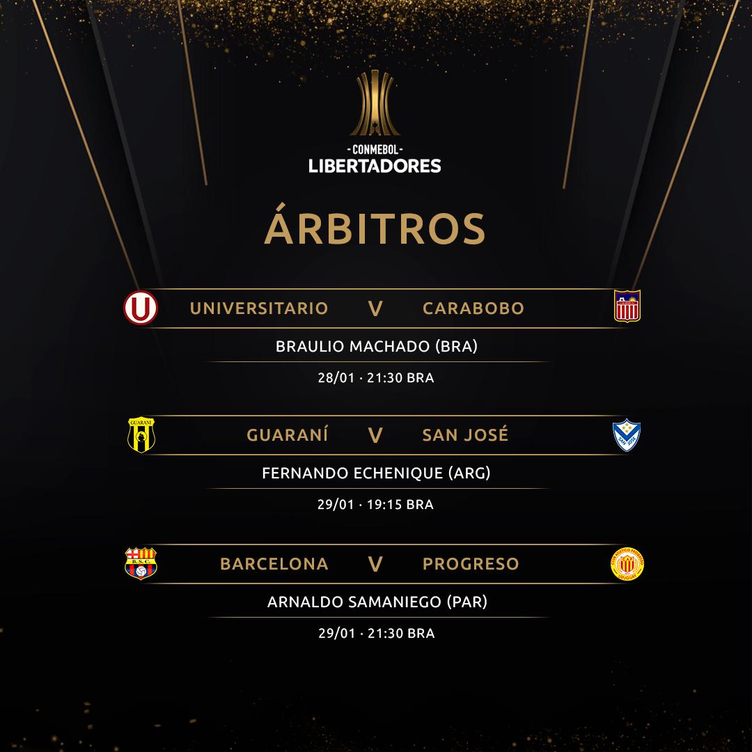 Árbitros Fase 1 Volta Libertadores 2020
