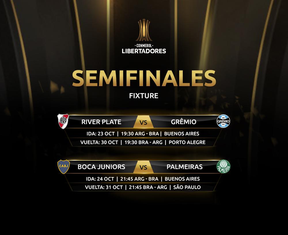Semifinales Libertadores dias y horarios