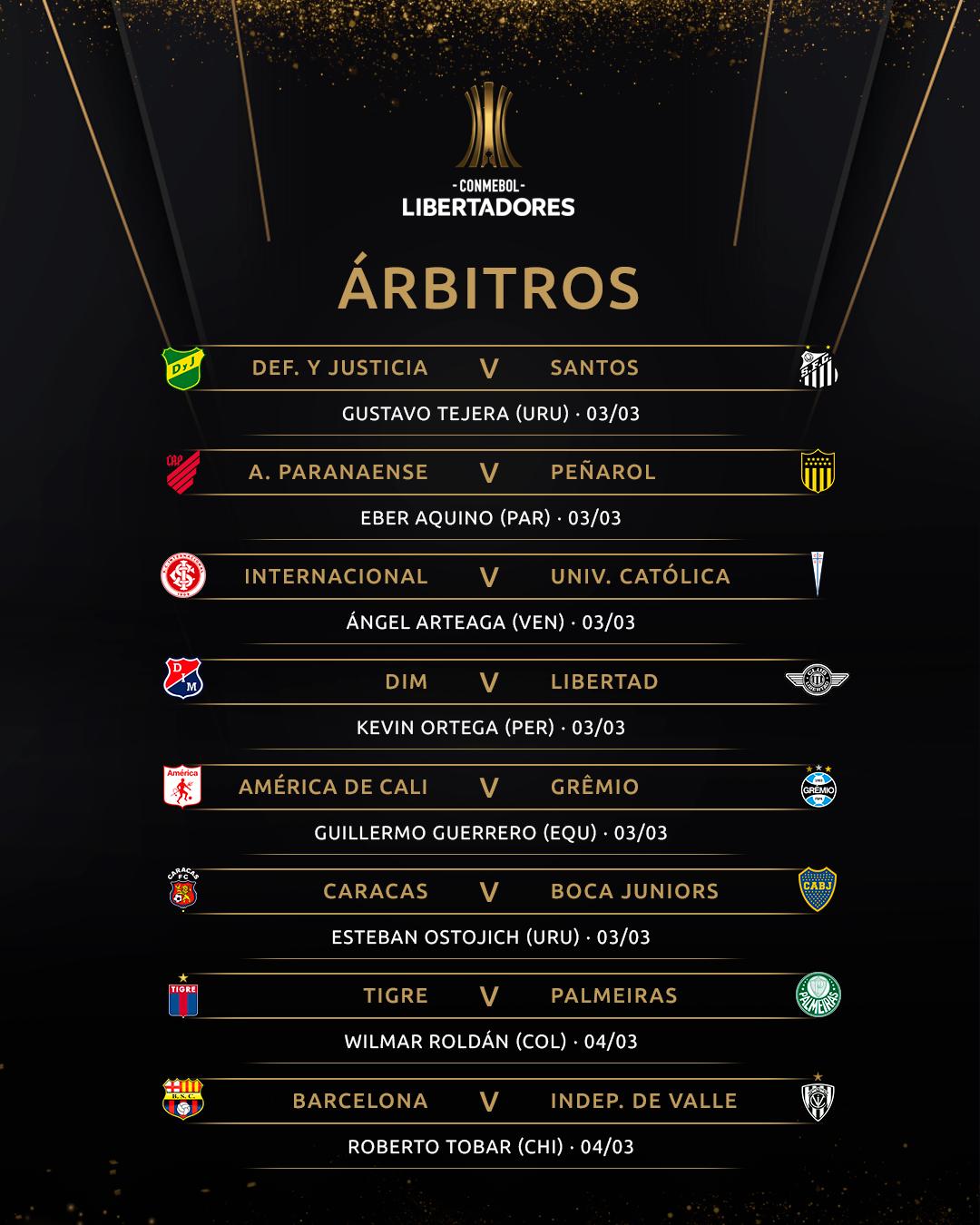 Árbitros 1 Libertadores Rodada 1