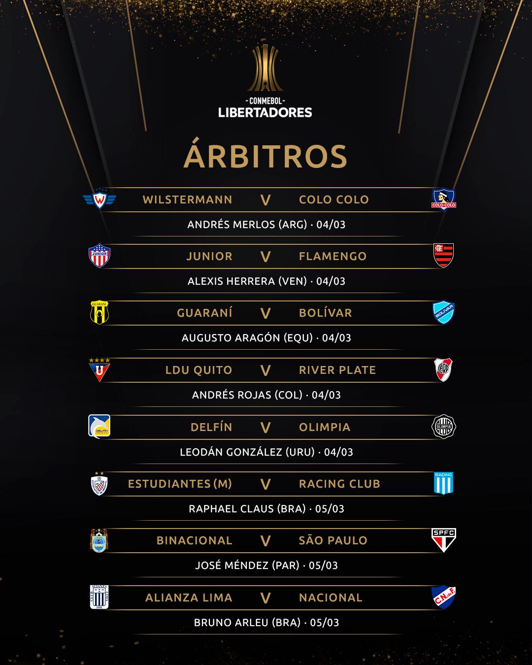 Árbitros 2 Libertadores Rodada 1