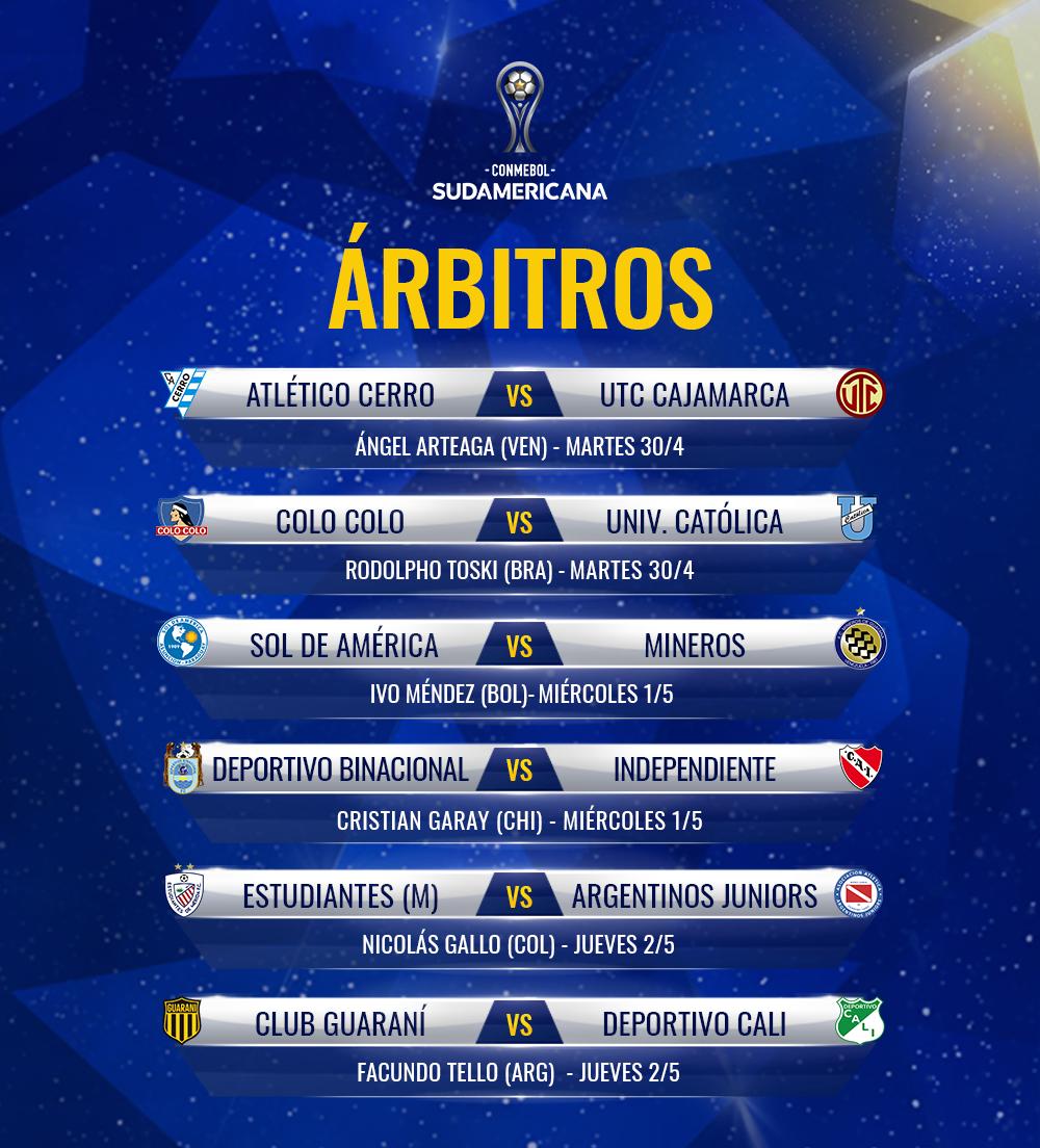 Arbitros CONMEBOL Sudamericana 2019 Primera Fase