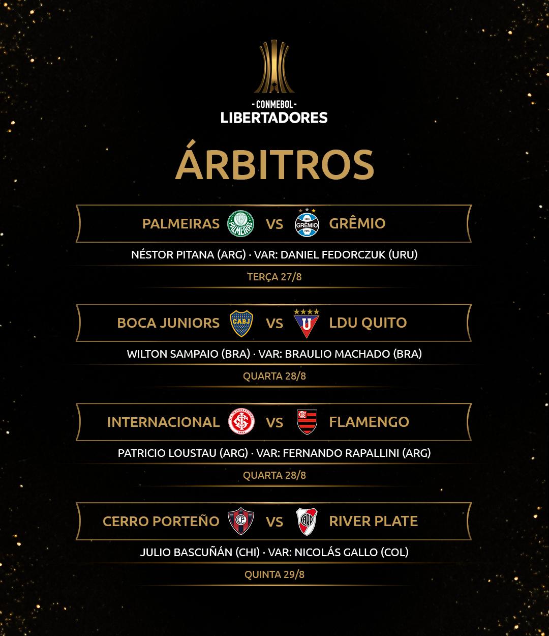 Arbitragem Quartas de final volta Libertadores 2019