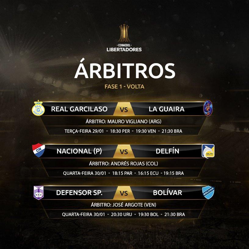 Árbitros - primeira fase Libertadores