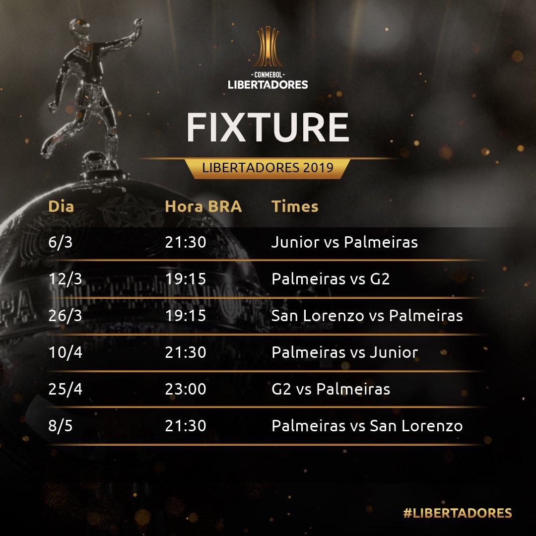 Tabela - Palmeiras - Libertadores 2019