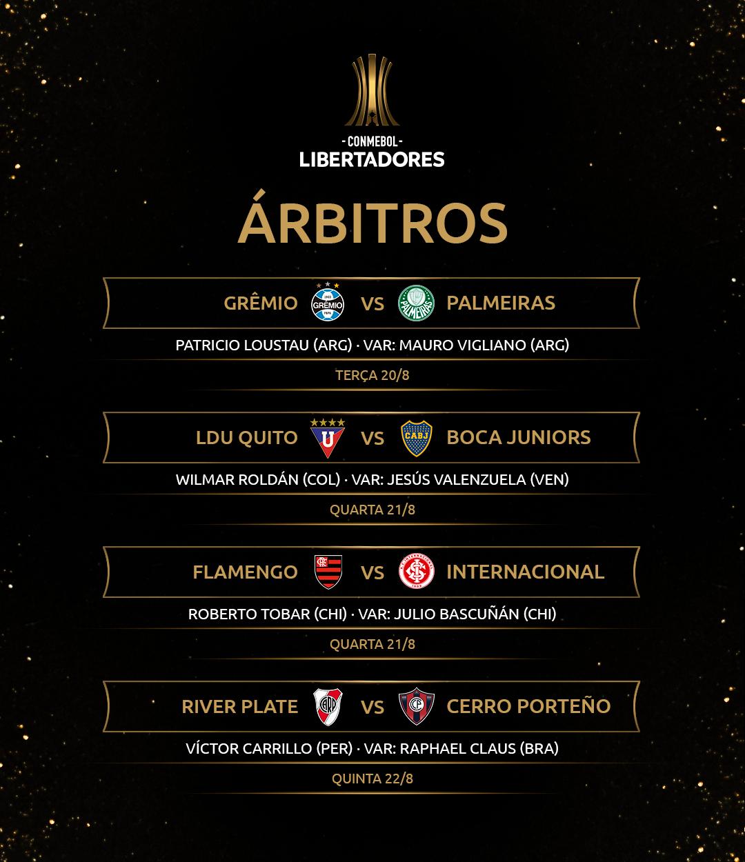 Arbitragem Quartas de final ida Libertadores