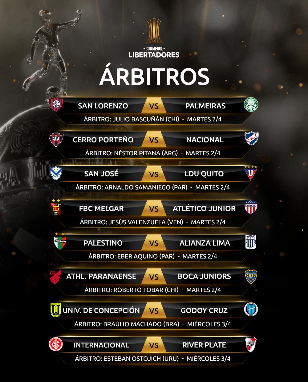 arbitros tercera fecha fase de grupos CONMEBOL Libertadores