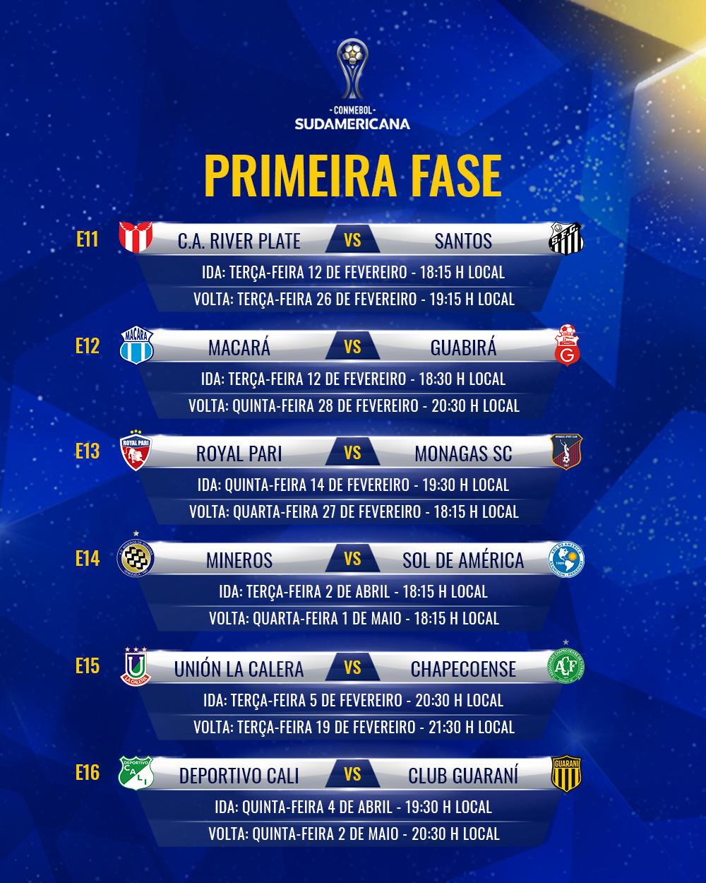 E11 E16 Tabela Sul-Americana 2019