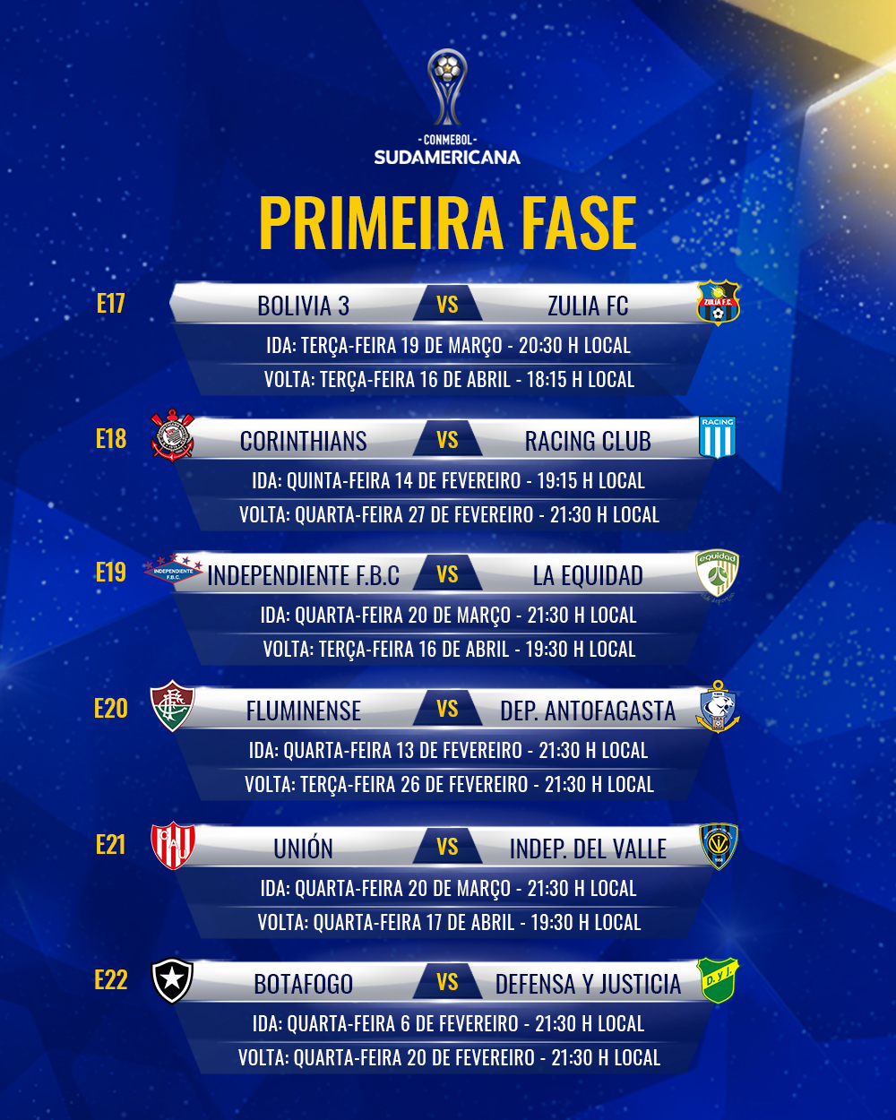 Tabela Sul-Americana 2019