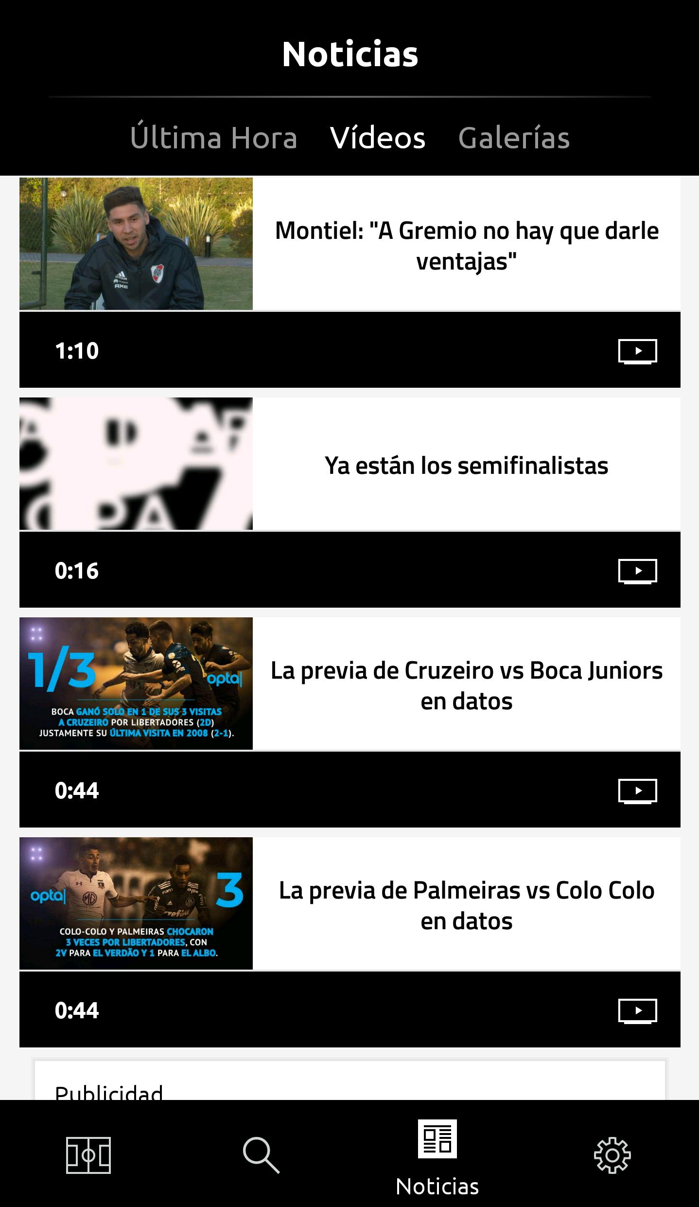 Videos Screen app Libertadores