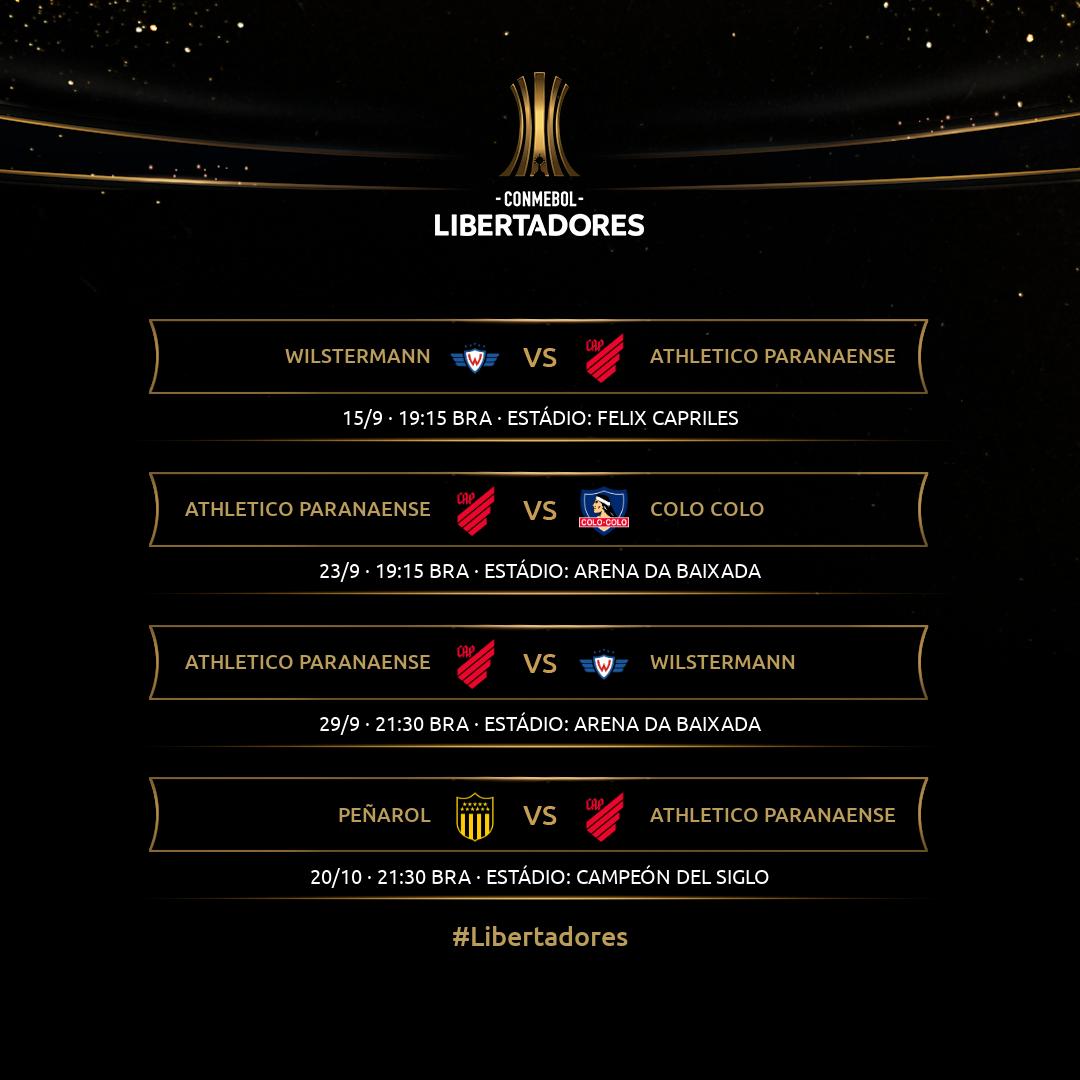 Tabela Athletico-PR - Sem TV - Libertadores