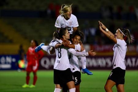 Comemoração do Corinthians na Libertadores Feminina