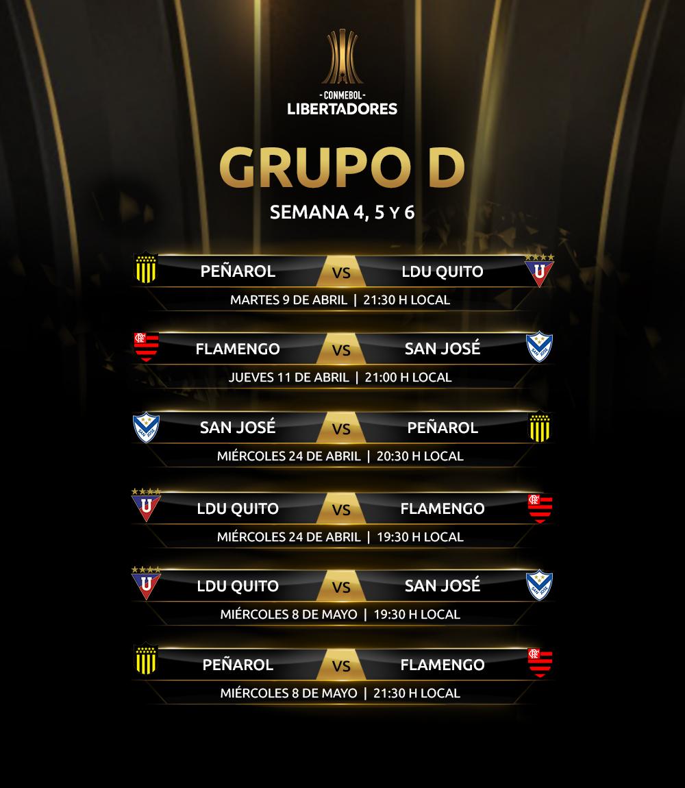 Fixture Grupo D Copa Libertadores 2019