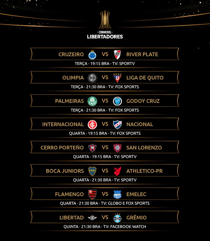 Agenda da semana - Libertadores - volta das oitavas