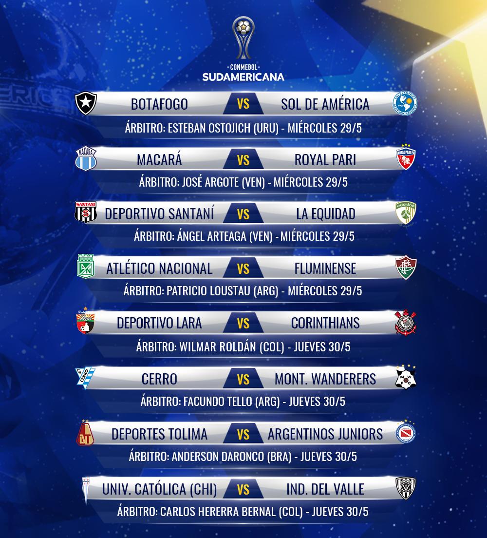 Árbitros para la vuelta Segunda Fase de la Sudamericana