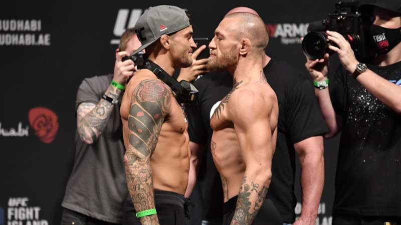 dustin-poirier-conor-mcgregor-weigh-in-getty-ftr