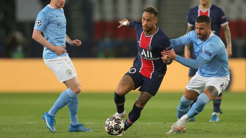 ONLY GER PSG vs. Manchester City Neymar Jr. Kyle Walker Kevin de Bruyne Champions League 28042021