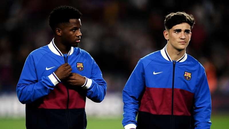 2021-10-17- Ansu Fati and Pablo Martin Paez Gaviria 'Gavi' of FC Barcelona