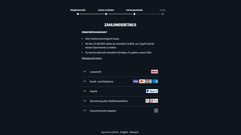 DAZN Zahlungsarten Anmeldung 2021