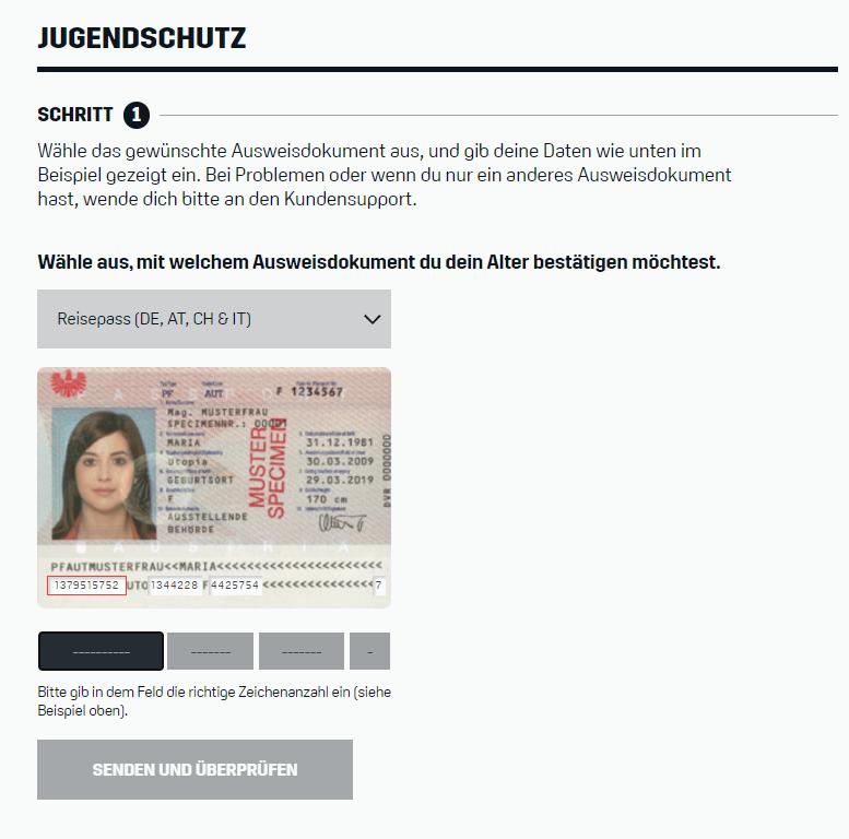 Alter verifizieren DAZN Pass