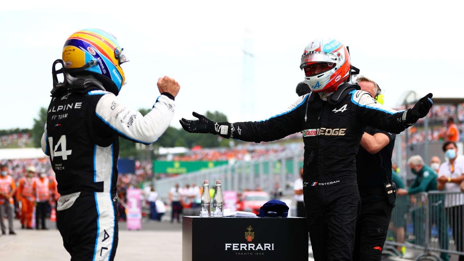 Non far rimpiangere hulkenberg e mostrare di valere un posto fisso in. Esteban Ocon y la preciosa celebración con Fernando Alonso ...