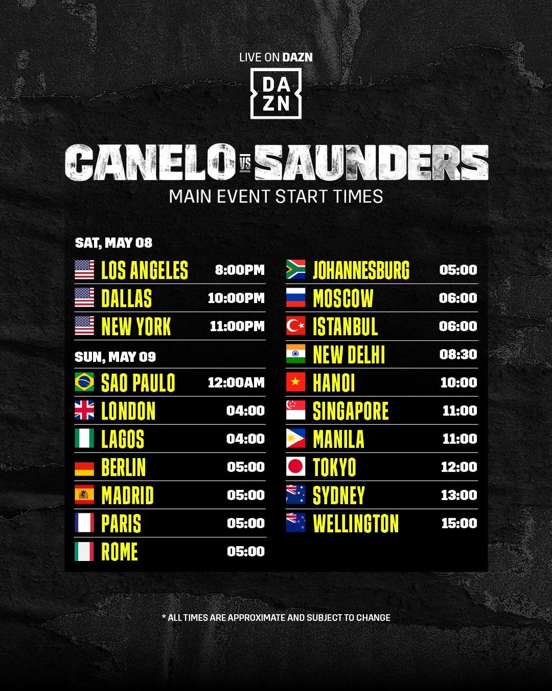 canelo-saunders-main-event-start-times-dazn