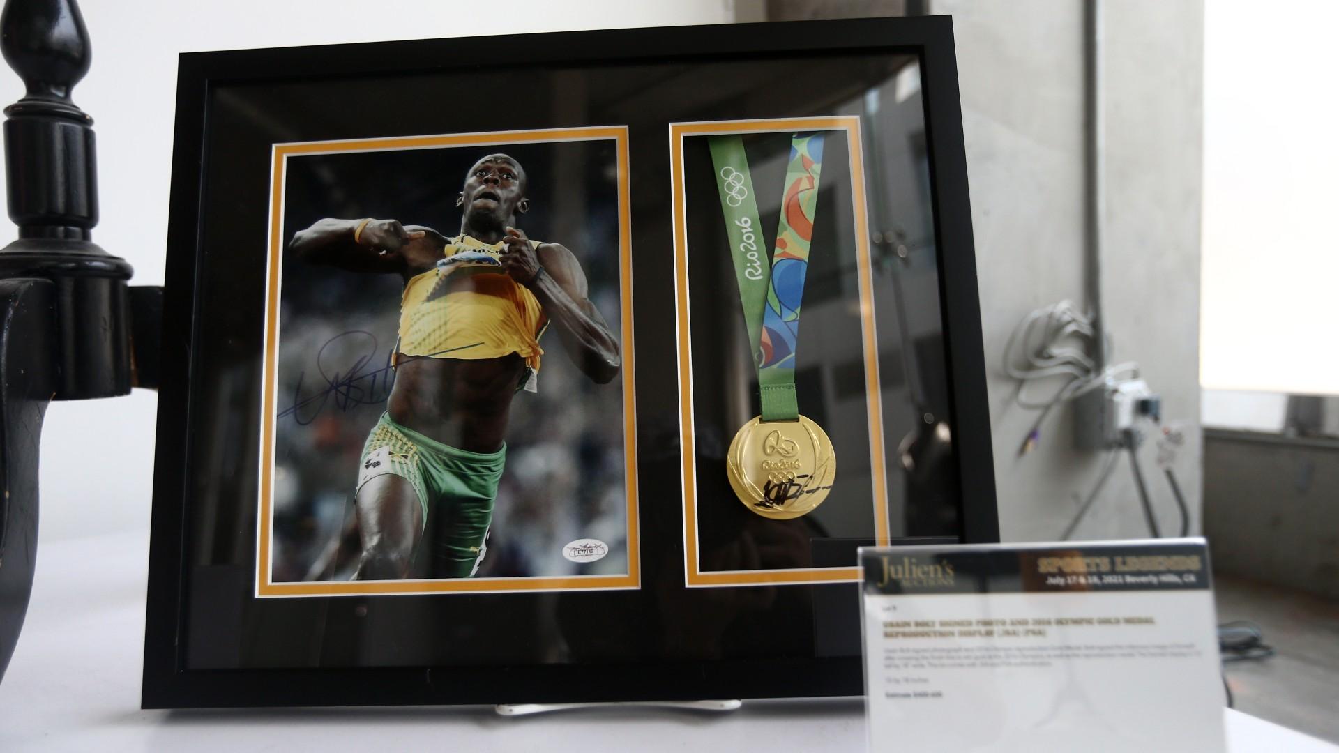 Usain Bolt Goldmedaille 100 Meter Sprint Olympische Spiele