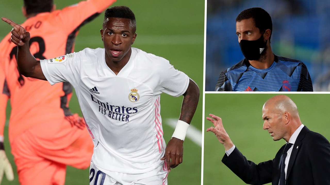 Vinicius Junior Eden Hazard Zinedine Zidane Real Madrid GFX