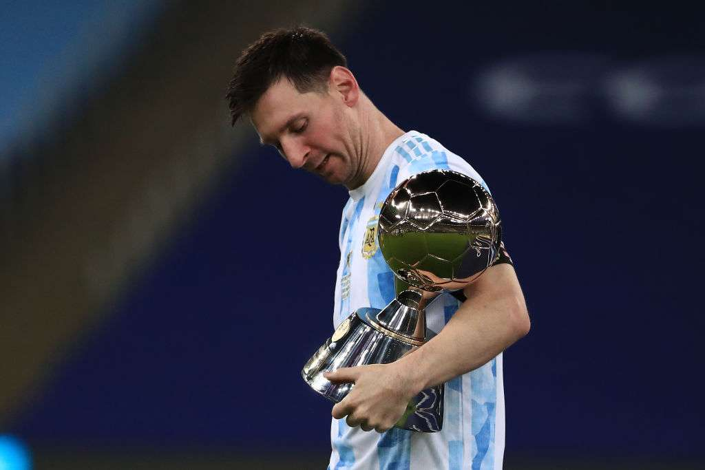 Lionel Messi with 2021 Copa America Golden Ball