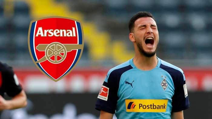 Ramy Bensebaini Arsenal composite