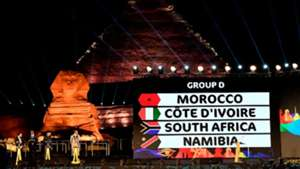 prior to the 2019 CAF African Cup of Nations (CAN) draw shows a view of the draw venue with the Pyramid of Khafre 12 April2019