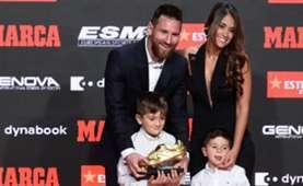 Messi Bota de Oro Antonella Roccuzzo Thiago Mateo