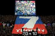 Johor Darul Ta'zim fans lifting a banner just before their team's match against Kedah 20/1/2017