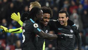 Willian, Pedro, Moses Chelsea vs Huddersfield