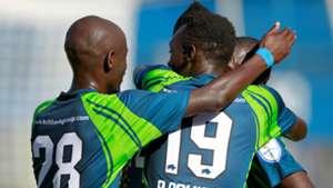 KCB playrers Ezekiel Odera celebrate v Gor Mahia.