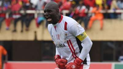 Denis Onyango, Uganda goalkeeper instructs his teammates against Tanzania during the 2019 Afcon Qualifiers