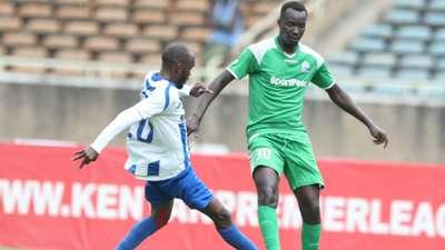 Whyvonne Isuza of AFC Leopards v Humphrey Mieno of Gor Mahia.