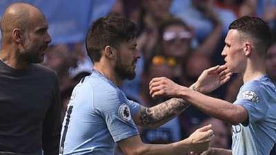 Guardiola, Silva y Foden, Manchester City