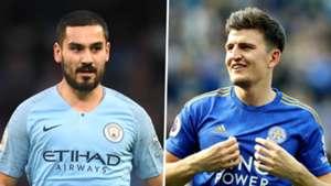 Ilkay Gundogan Harry Maguire Man City Leicester City 2019
