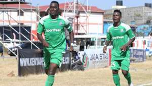 Gor Mahia captain Haroun Shakava celebrates with George Odhiambo v AFC Leopards.