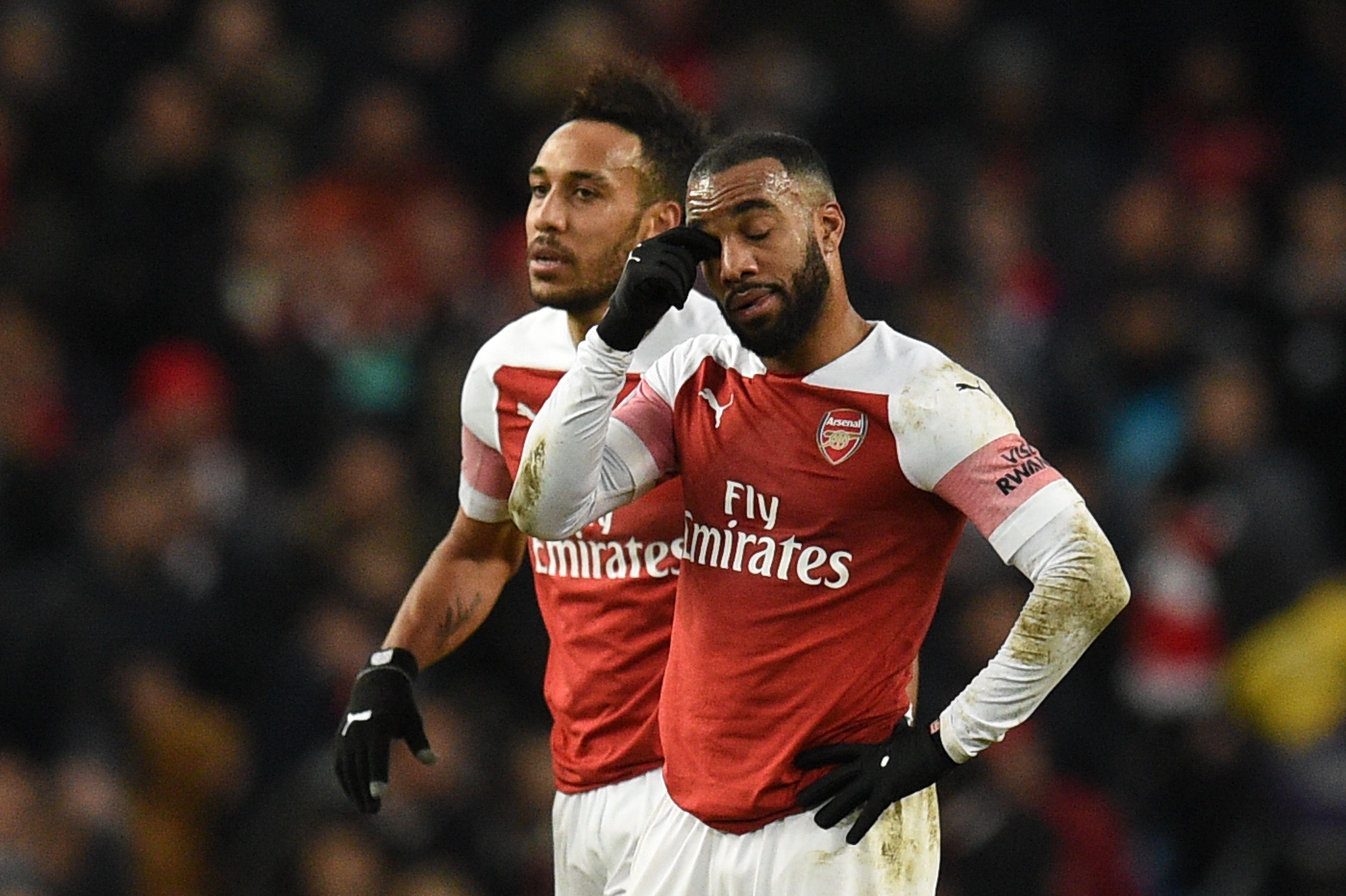 Alexandre Lacazette and Pierre Emerick Aubameyang, Manchester City v Arsenal, Premier League, 2019
