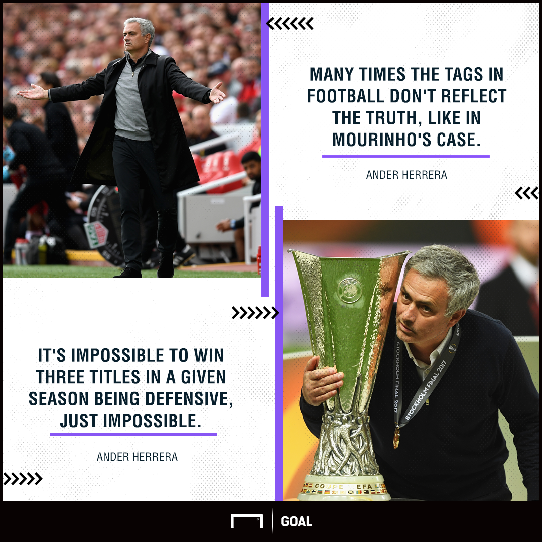 Ander Herrera Jose Mourinho Manchester United not defensive