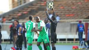 Dennis Oliech of Gor Mahia comes in for Nicholas Kipkirui.