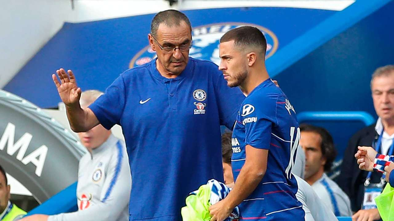 Maurizio Sarri and Eden Hazard Chelsea