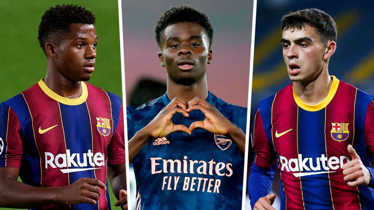 Bukayo Saka Ansu Fati Pedri Arsenal Barcelona GFX
