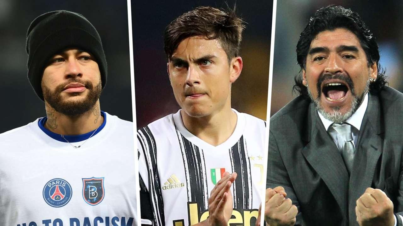 Neymar, Paulo Dybala, Diego Maradona