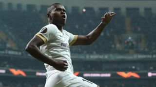 Genk's Mbwana Samatta celebrates after scoring the 1-0 lead during the UEFA Europa Legue group I soccer match between Besiktas and Genk in Istanbul, Turkey, 25 October 2018