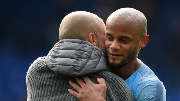 Pep Guardiola Vincent Kompany Manchester City