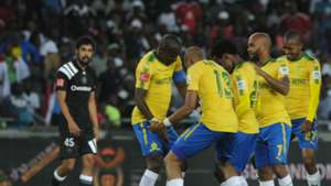 Sundowns players celebrate Hlompho Kekana's goal