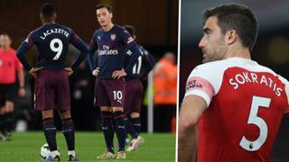 Alexandre Lacazette Mesut Ozil Sokratis Arsenal